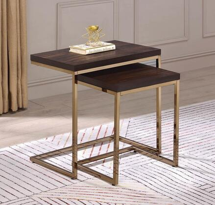 930116 2-Piece Nesting Table with Engineered Veneer Table Tops and Metal Frame Construction in