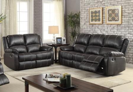 Zuriel Collection 52285SL 2 PC Living Room Set with Sofa + Loveseat in Black