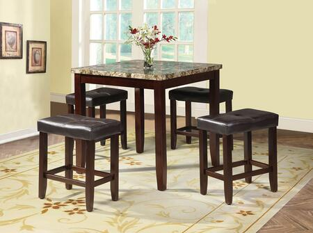 Rolle Collection 71090 5 PC Counter Height Dining Set with Square Table  Faux Marble Top  Bycast PU Leather Upholstery Seats and Tapered Legs in Espresso