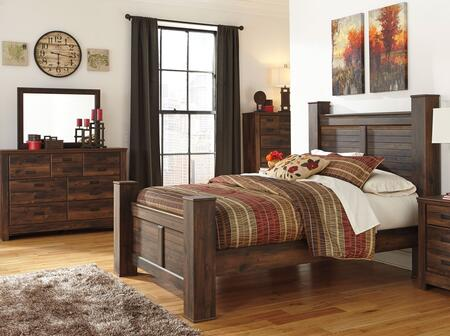 Quinden Queen Bedroom Set With Poster Bed  Dresser  Mirror And Chest In Dark
