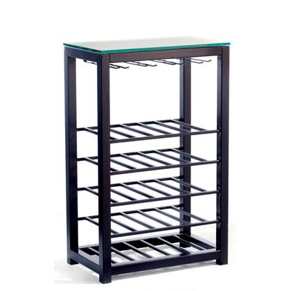 290119 Trio 25 Bottle Capacity Narrow Wine Table With .375 inch  Thick Glass & In Powder Coated