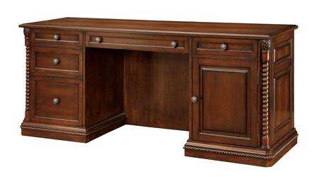 Vicki CM-DK6380DS Computer Desk with Traditional Style  Ornate Rope-like Design  Multiple Drawers  Solid Wood  Wood Veneer  Others* in Dark