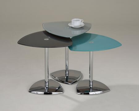 81496 Brice 3-Piece Nesting Tables Set with Glass Tops and Chrome