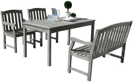 Renaissance V1297SET22 4 PC Outdoor Dining Set with Rectangle Table  4-Foot Bench  2 Armchairs  Acacia and Hand-Scraped Hardwood Materials in Grey