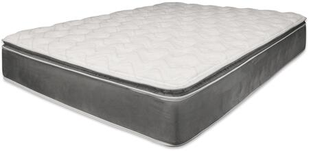 Jade Collection 29107 14 inch  Queen Size Pillow Top Mattress with Foam Encased  Internal Noise Reduction  Metal Coil and Made in USA in Grey
