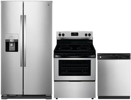 4-Piece Stainless Steel Kitchen Package with 51113 Side-by-Side Refrigerator  93013 Freestanding Electric Range  80323 Over-the-Range Microwave and