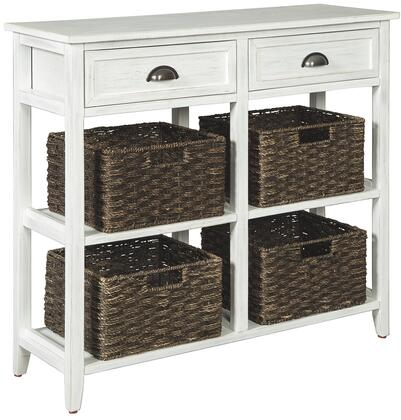 """Oslember_Collection_A4000139_34""""_Console_Sofa_Table_with_2_Fixed_Shelves__2_Drawers__Casual_Style__Veneers__Wood_and_Engineered_Wood_in_White"""