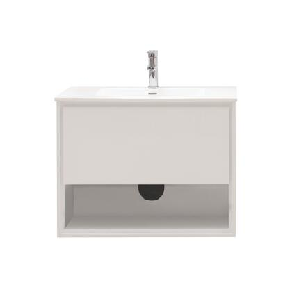 SONOMA-VS31-WT Sonoma Collection 31 Vanity Combo with Laminated Hardwood Plywood  Finger-Groove Drawer Pull  Soft Close Door  Open Shelf  Pre-Drilled Faucet