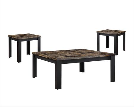 Finely Collection 84567 3 PC Living Room Table Set with Dark Brown Faux Marble Top