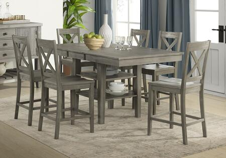 Huron Collection HURDGGT6XBS 7-Piece Dining Room Set with Gather Height Leg Table and 6x X-Back Barstools in Distressed Grey