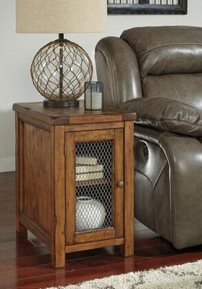 T830-7 Tamonie Chair Side End Table with Molding Detail  Simple Pulls and Distressed Detailing in Medium
