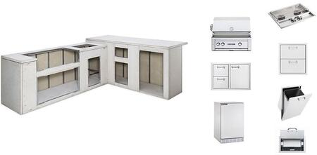 "L5000LP Sedona Series Ready to Finish Island Package with L500LP 30"" Sedona Grill  Door Drawer  Double Side Burner  Trash Center  Paper Towel Dispenser  Double"