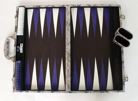 MPYT102SIL 18 inch  Backgammon Set with Instructions  Dice  Playing Cups  and Chips: Metallic Python