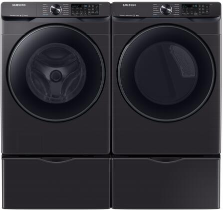 """Front_Load_Laundry_Pair_with_WF50R8500AV_28""""_Washer__DVE50R8500V_27""""_Electric_Dryer_and_2x_WE402NV_Pedestal_in_Black_Stainless"""