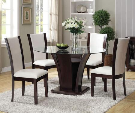 Malik Collection 70510T4WC 5 PC Bar Table Set with Counter Height Table + 4 White PU Chairs in Espresso