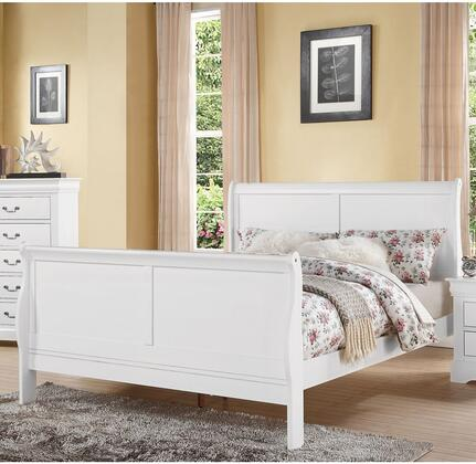 Louis Philippe III Collection 24500Q Queen Size Bed with Sleigh Headboard  Solid Pine Wood and Gum Veneer Construction in White