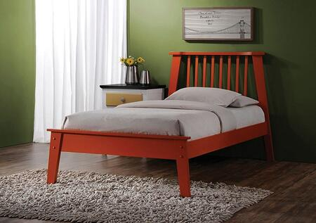 Marlton Collection 25415TN 2 PC Bedroom Set with Twin Size Bed + Nightstand in Orange