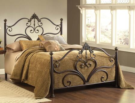 Newton Collection 1756BQR Queen Size Bed with Headboard  Footboard  Rails  Delicate Scrollwork  Large Ornate Castings  Decorative Finials and Metal