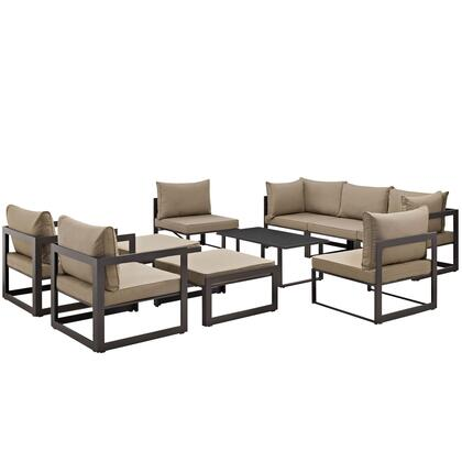 Fortuna Collection Eei-1720-brn-moc-set 10 Pc Outdoor Patio Sectional Sofa Set With Powder Coated Aluminum Frame  Washable Polyester Cushion  Black Plastic