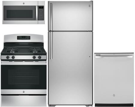 4-Piece Stainless Steel Kitchen Package with GTE18GSHSS 28 Top Freezer Refrigerator  JGB635REKSS 30 Freestanding Gas Range  GDT605PSMSS 24 Fully