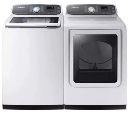 27 Inch Laundry Pair with WA52M7750AW 27 inch  Top Load Washer and DVE52M7750W 27 inch  Electric Dryer in