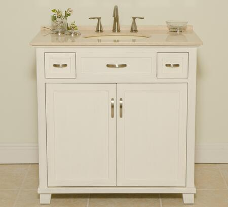 1017W Newton 36 inch  Bathroom Vanity With Cream Marble Top  White Porcelain Sink  Two Doors with One Shelf  Cabinet and Two Drawers with Metal Roller Ball Sliders