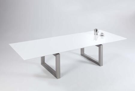 EBONY-DT EBONY DINING Gloss White Contemporary Large Extension Dining Table with Brushed Stainless Steel