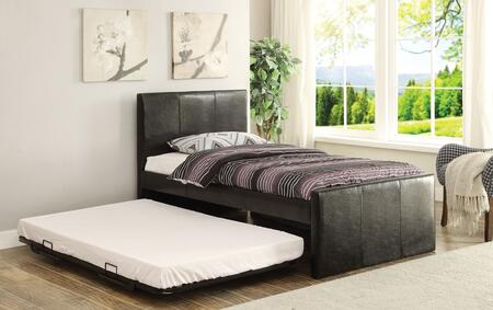 Jandale Collection 30480T Twin Size Bed with Pop-Up Metal Trundle  Wood Frame  Panel Headboard and PU Leather Upholstery in Black