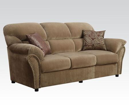 Patricia Collection 51950 86 inch  Sofa with Wood Frame  Pocket Coil Seating  Nail Head Trim Accent  Tight Seat Cushions  Pillows Included and Velvet Upholstery in