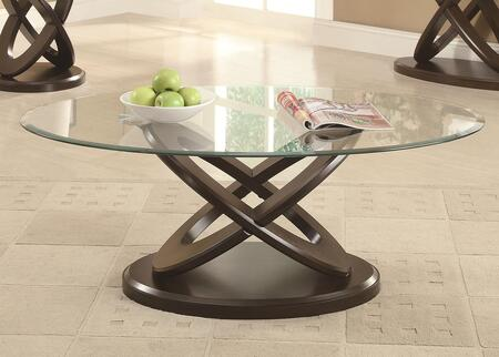 702788 Occasional Group Oval Coffee Table with Tempered Glass Top and Intersecting Rings Legs in Espresso