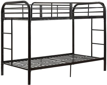 Thomas Collection 02178BK Twin Over Twin Bunk Bed with Built-in Side Ladders  Slat System Included  Full Length Guardrail and Metal Tube Frame in Black