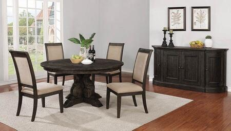 Whitney Collection 121280-S6 6-Piece Dining Room Set with Round Dining Table  4 Side Chairs and Server in Burnished