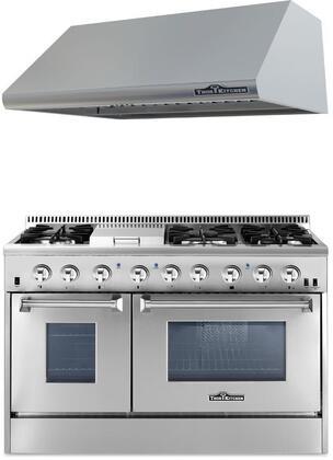 2-Piece Stainless Steel Kitchen Package with HRD4803U 48 inch  Dual Fuel Freestanding Range  and HRH4805U 48 inch  Under Cabinet Range