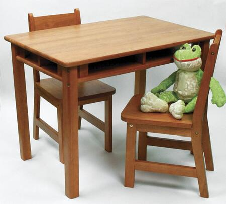 534P Lipper's Rectangular Table with Shelves and 2 Chairs in Pecan