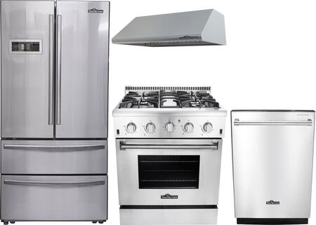 4-Piece Stainless Steel Kitchen Package with HRF3601F 36 inch  French Door Refrigerator  HRG3080U 30 inch  Freestanding Gas Range  HRH3005U 30 inch  Under Cabinet Hood  and