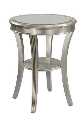 70803 20 inch  Accent Table with Splayed Legs  Stretcher Shelf and Mirrored Top in Kenney Silver