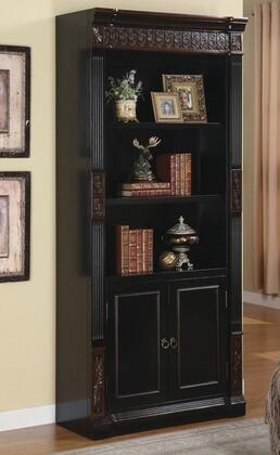 Nicolas Collection 800923 Bookcase with Carvings and Enclosed Storage Cabinet in Espresso and Brown Red