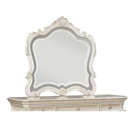 Chantelle Collection 23544 45 inch  x 45 inch  Mirror with Scrolled Ornamental Trim and Crown  Beveled Edges  Poplar Wood and Birch Veneer Materials in Pearl White