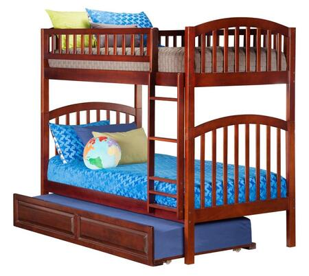Richland AB64134 Twin Over Twin Bunk Bed  With Raised Panel Trundle Bed In Antique