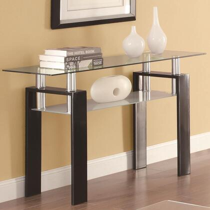 702289 Occasional Group 702280 Sofa Table with Tempered Glass Top  Frosted Glass Shelf and Metal Frame in Black
