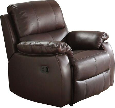 Enoch Collection 52452 38 inch  Recliner with Pillow Top Armrest  Pocket Coil Seating  Tight Seat Cushion and Top Grain Leather Match Upholstery in Dark Brown