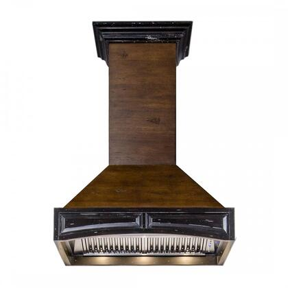 321AR-48 48 inch  Wooden Wall Mount Range Hood with 1200 CFM  Stainless Steel Baffle Filter  4 Speed Fans  Speed/Timer Panel  and with Crown Molding  in Walnut