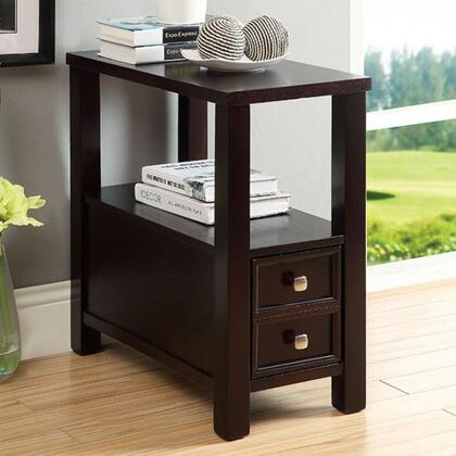 Lydle Cm-ac114 Side Table  With Transitional Style  Double Drawer Look  Open Shelf  Espresso Finish In