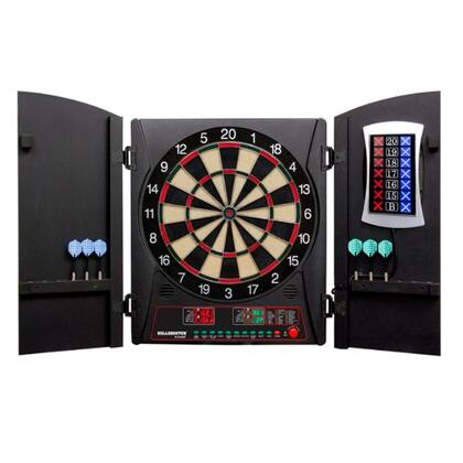 CMX3000 Cricket Maxx 3.0 Dartboard Cabinet and E-Bristle Board Set with Six Soft Tip Darts  Extra Tips  and AC