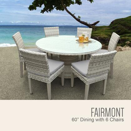 Fairmont-60-kit-6c-grey Fairmont 60 Inch Outdoor Patio Dining Table With 6 Armless Chairs With 2 Covers: Beige And