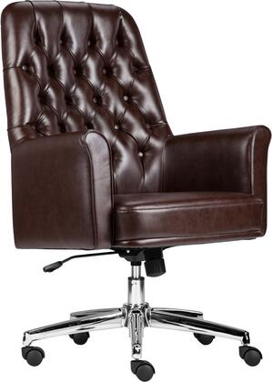 BT-444-MID-BN-GG Mid-Back Traditional Tufted Brown Leather Executive Swivel Chair with