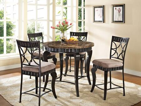 Galiana Collection 18285T4C 5 PC Dining Room Set with Dining Table + 4 Side Chairs in Black with Gold Brushed