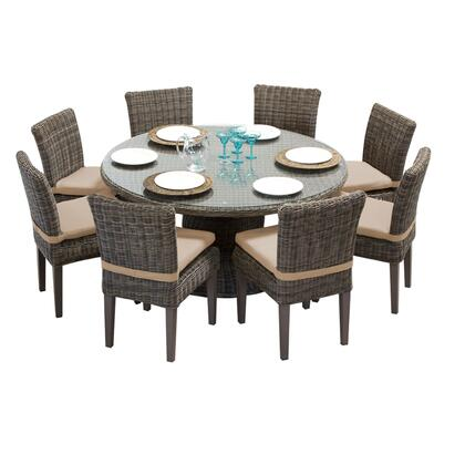 Capecod-60-kit-8c-wheat Cape Cod Vintage Stone 60 Inch Outdoor Patio Dining Table With 8 Armless Chairs With 2 Covers: Beige And