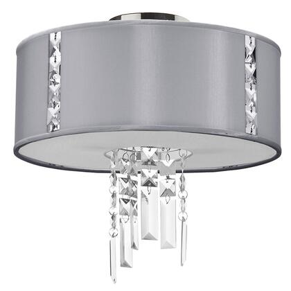 RTA-12SF-PC-834 2 Light Semi Flush With Crystal Accents  Polished Chrome Finish  Steel Shade With Fabric