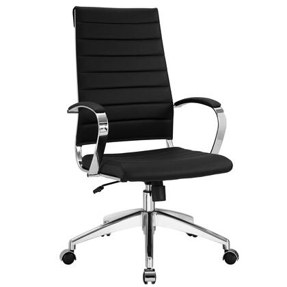 Jive Collection EEI-272-BLK Office Chair with 5-Caster Dual Wheel Base  Padded Arms  Chrome-Plated Aluminum Frame  Tilt Lock Tension Control  Adjustable Height